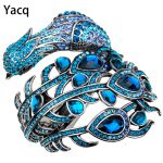 YACQ Peacock Bracelet Women Crystal Bangle Cuff Punk Rock <b>Fashion</b> <b>Jewelry</b> Gifts for Girlfriend Wife Her Mom A29 Dropshipping