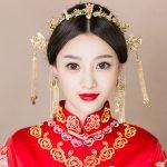 <b>Handmade</b> Chinese Style Phoenix Coronet Ancient Bridal Wedding Headpiece Hair <b>Jewelry</b> Sets Tassel Hair Sticks with Hook Earrings