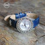 New Arrival S925 Pure <b>Silver</b> Watch Leather Band Classical Lady Thai <b>Silver</b> <b>Bracelet</b> Thailand Process Rhinestone Bangle