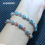 KJJEAXCMY Fine jewelry Shot 925 sterling <b>silver</b> inlaid natural Topaz Stone <b>Bracelet</b> Aquamarine color wholesale
