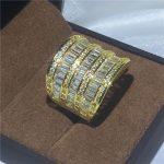<b>Handmade</b> Big ring Engagement Wedding Band Rings for women AAAAA zircon cz Yellow Gold Filled 925 silver Bridal <b>Jewelry</b>