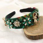 2017 Baroque Vintage Green Silk Print Pearl Bow Headband Crystal Flower <b>Wedding</b> Crown Bride Headpiece Hair Accessories <b>Jewelry</b>