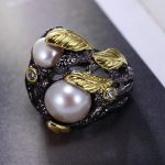 Gorgeous 100% <b>Handmade</b> <b>jewelry</b> Pearl Luxury Cocktail party Black golden rings Very detail pattern Leaf shape Vintage Black ring