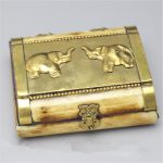 TJB971 Tibetan handicrafted yak bone <b>jewelry</b> box Nepali vintage Crafts Golden Elephant Box