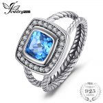JewelryPalace Vintage 2.2ct Cushion Genuine Swis Blue Topaz Rope Halo Fine Ring 925 Sterling <b>Silver</b> Rings for Women Fine <b>Jewelry</b>
