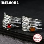 BALMORA 1 Piece 925 Sterling Silver Feather Resizable Rings for Women Gift Vintage Thai Silver Fashion <b>Jewelry</b> Anillos SY20868
