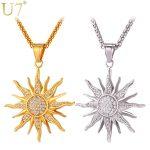 U7 Brand Big Sunflower Charm Necklaces Silver/Gold Color Stainless Steel Rhinestone Pendant & Chain Men/Women <b>Jewelry</b> 2017 P1034