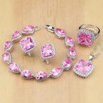 Lovely Pink CZ 925 Sterling <b>Silver</b> Jewelry Sets For Women Wedding Earrings/Pendant/Necklace/Rings/<b>Bracelet</b> T099
