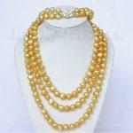 Women's Weddinglength 49″ 8-9mm baroque yellow golden pearls necklace 2row bracelet set j8457 real silver –<b>jewelry</b>