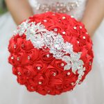 Red Chinese style wedding bouquet custom red & Silver <b>jewelry</b> bouquet bridal bouquet wedding <b>supplies</b> decorations 10 inch