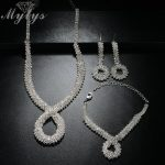 Mytys Crystal Bridal Jewelry Sets <b>Silver</b> Color Rhinestone Wedding Engagement Jewelry Sets for Women CN331