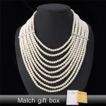 Maxi Necklace Pearl <b>Jewelry</b> Big Necklace Women Fashion <b>Jewelry</b> Vintage Trendy Collar <b>Wedding</b> Multi-layer Necklaces N389