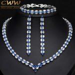 CWWZircons 3 Piece Royal Blue Cubic Zirconia Womens Wedding Party Costume <b>Jewelry</b> Necklace Earring Bracelet Set For Brides T038