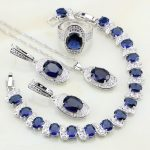 Oval Blue Stones White Zirconia 925 Sterling <b>Silver</b> Jewelry Sets For Women Anniversary Earrings/Pendant/Necklace/Rings/<b>Bracelets</b>