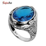 Szjinao Love Big Rings for Women Wholesale Flower Oval Blue Topaz Vintage Ring 925 Sterling <b>Silver</b> <b>Jewelry</b>