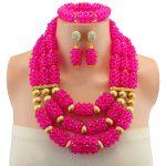 Amazing Rose African Beads <b>Jewelry</b> Set Nigerian Beads <b>Necklace</b> Dubai <b>Jewelry</b> Sets 2018 New Free Shipping