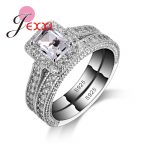 JEXXI 925 Sterling Silver Ring Sets With Full White High Quality CZ Crystal For Women/Girls Charm <b>Jewelry</b> With 2 PCS Wholesale
