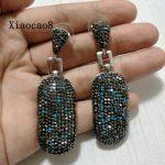 Big Dangle Earrings made with Black Blue Rhinestone, 2017 <b>Handmade</b> Vintage Drop Earrings Ladies Luxury <b>Jewelry</b> Hanging Earrings