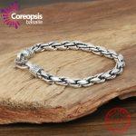 Coreopsis Classic Chain Genuine <b>Handmade</b> Thai Silver 925 <b>Jewelry</b> Bracelet Male European American trend men thin bracelet new hot