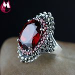 Luxury 18*14 Big Gemstone <b>Jewelry</b> Natural Red Garnet Wedding Ring For Women Punk Party Engagement 925 <b>Sterling</b> <b>Silver</b> Ring SR68