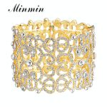 Minmin Luxury Wide Gold Color Crystal Bracelets and Bangles Rhinestone Fashion Bridal <b>Jewelry</b> Wedding <b>Accessories</b> Gift MSL209