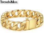 Trendsmax 316L Stainless Steel Bracelet For Men <b>Silver</b> Gold Color Men's Bracelet Curb Cuban Chain Hiphop <b>Jewelry</b> HB123