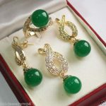 Prett Lovely Women's Wedding charm Jew.656 <b>Jewelry</b> Green gem Pendant Necklace Earrings Ring set + chain silver-<b>jewelry</b>
