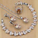 925 Sterling Silver Bridal <b>Jewelry</b> Champagne Zircon <b>Jewelry</b> Sets For Women Earrings/Pendant/Necklace/Rings/Bracelet