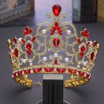 Bridal Tiaras and Crowns Full Pearl Red Green Crystal Rhinestone Gold <b>Wedding</b> Hair Crown for Women Hair <b>Jewelry</b> Accessories