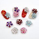2PCS 3D Glitter Five Petal Glazed Flowers Acrylic Nail Art <b>Jewellery</b> Rhinestone <b>Decorations</b> Manicure DIY Tips