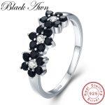 [BLACK AWN] Vintage 2.1g 925 <b>Sterling</b> <b>Silver</b> <b>Jewelry</b> Bague Flower Black Spinel Engagement Rings for Women Girl Gift C464