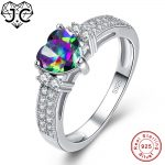 J.C Engagement Women Fine <b>Jewelry</b> Rainbow Fire Mystic Topaz White Topaz Solid 925 <b>Sterling</b> <b>Silver</b> Ring Size 6 7 8 9 Love Style