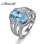 AINUOSHI Luxury 4ct Big Oval Ring Natural Sky Blue Gemston Topaz Ring Solid 925 <b>Sterling</b> <b>Silver</b> Halo Ring Women Wedding <b>Jewelry</b>