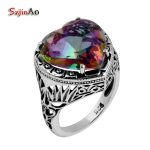 Szjinao wholesale anillos Vintage <b>Jewelry</b> 925 Sterling <b>Silver</b> Rings Charm Rainbow Topaz Heart-shaped Stones For Women Gifts