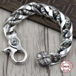 S925 Men's <b>bracelet</b> in Sterling <b>Silver</b> Personality trend cross domineering modeling Punk style retro classic Send a gift to love