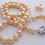 Women Gift word Love women Fashion <b>Jewelry</b> Charming 7-8mm Pink pearl beads necklace set women <b>jewelry</b> necklace earrings <b>making</b> d