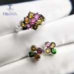 TBJ,100% natural colorful tourmaline Fashion jewelry set in 925 sterling <b>silver</b> gemstone pendant and ring for lady with gift box