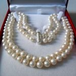 """2 rows 8 – 9 MM white SALTWATER pearl necklace 17 – 18 """"pearl <b>jewelry</b> <b>making</b> natural stone YE2091 wholesale price"""