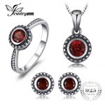 JewelryPalace Vintage 1.8ct Natural Garnet Ring Stud Earrings Pendant Necklaces Chain 45cm 925 <b>Sterling</b> <b>Silver</b> Fine <b>Jewelry</b> Sets
