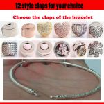Authentic 100% 925 Sterling <b>Silver</b> 12style claps for Snake Chain Bangle & Bracelet to chooes Luxury <b>Jewelry</b> for girlfriend gift
