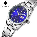 Top Luxury Watch Ladies Date Stainless Steel Wristwatch Quartz Watch Women Watches <b>Silver</b> Montre Femme Famous Brand WWOOR Clock