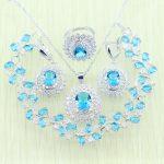 Reginababy 925 Logo Sky Blue Rhinestone White Zircon Silver color <b>Jewelry</b> Set For Women Bracelets/Necklace/Earrings/Ring/Pendant