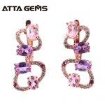 Ruby Solid <b>Silver</b> Drop <b>Earring</b> Women Wedding Engagement <b>Silver</b> <b>Earrings</b> Created Ruby Pink Purple Gemstone Fashion Design