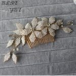 Flowers Women Hair CombS <b>Wedding</b> Acessories For Bridal Hair Accessories <b>Jewelry</b> Pearl Crystal White Gold Bridal Sets