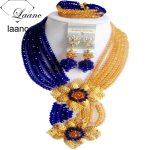 Laanc Fashion Royal Blue Champange Gold Nigerian Wedding African Beads <b>Jewelry</b> Set Crystal C6CHLK024
