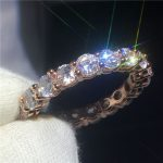 <b>Handmade</b> Sexy Anniversary ring 4mm AAAAA Zircon Cz Rose Gold Filled 925 silver wedding band rings for women bridal <b>Jewelry</b> Gift