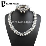 fashion 925 <b>silver</b> natural freshwater pearl/jewelry set including necklace bracelet and ring round pearl AAAA10-11mm