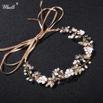Miallo Leaf Flower Crystal Tiaras Pearls <b>Jewelry</b> Wedding Accessories Hair Vine Handmade Headband Hair <b>Jewelry</b> Gold Sliver Color