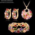 ANFASNI Fashion Christmas Gift Women Wedding Set Golden Color Zirconia Earring/<b>Necklace</b>/Bracelet <b>Jewelry</b> Set CST0029-C