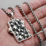 Graveyard Skull Dog Tag Solid 925 Sterling <b>Silver</b> Mens Biker Pendant 8C003(<b>Necklace</b> 24inch)